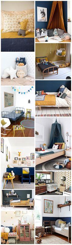 navy and mustard childrens room and interiors