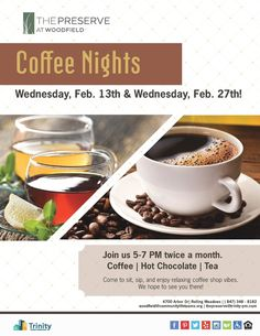 Join us for a relaxing cup of coffee, tea, or hot chocolate twice a month. Rolling Meadows, Bedroom Floor Plans, Bedroom Flooring, Preserves, Hot Chocolate, Coffee Shop, Join, Tea, Tableware