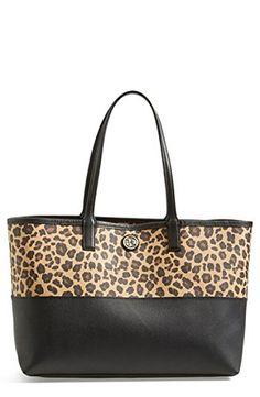 32e5f95edf Tory Burch Kerrington Shopper Leopard Leather Brown Beige Gold Bag