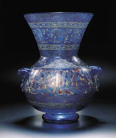 A MAMLUK-STYLE ENAMELLED AND GILDED BLUE GLASS MOSQUE LAMP PROBABLY FRANCE, SECOND HALF 19TH CENTURY