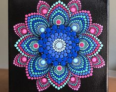 Vibrant dot Mandala on stretched canvas x blue, magenta, pink, aqua, turquoise Mandala Art, Mandala Canvas, Mandala Rocks, Mandala Drawing, Mandala Painting, Mandala Pattern, Magenta, Aqua, Pink Purple