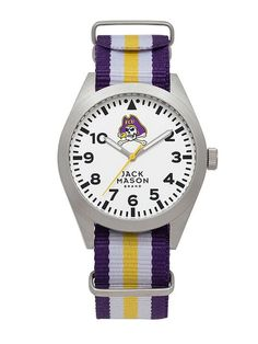East Carolina Pirates Unisex Nato Striped Strap Watch by Jack Mason  - 1