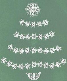 minimalist tatted Christmas tree with 6-pt snowflakes by Georgia Seitz