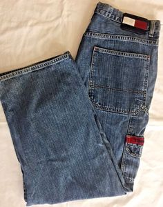 Tommy Hilfiger Mens Jeans Cargo Denim 35 x 29.5 Baggy Relaxed Style 248225 #TommyHilfiger #BaggyLoose