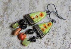 Green and Orange Ceramic Stoneware Handmade by HappyFishThings, $30.00