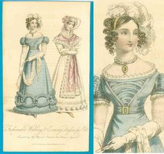 Antique c1823 Regency fashion print Lady's Magazine pretty hairstyle gown bonnet pelerine 'fair' condition only