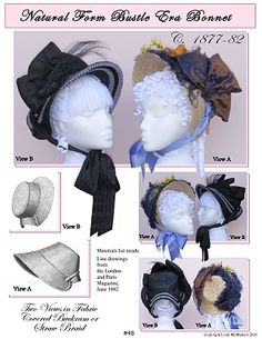 Victorian Natural Form Era Bustle Bonnet Hat Victorian Hats a9c12479d8a