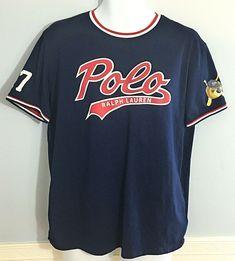 746d9b8fe07 Details about Ralph Lauren Polo Teddy Bear Baseball Jersey t-shirt Navy  Mens Small NWT