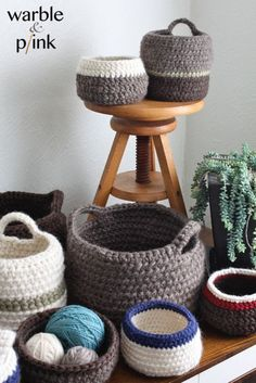 Handmade knit and crochet baskets, bowls, and rugs by Kristy Farkas