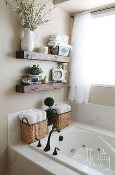 Spa Bathroom Decor, Bathroom Ideas, Bathroom Wall, Simple Bathroom, Bathroom Makeovers, Budget Bathroom, Bathroom Cabinets, Parisian Bathroom, Bathtub Decor