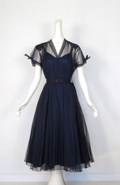 Vintage 1940s Dress / Navy Organdy Dress / by SmallEarthVintage