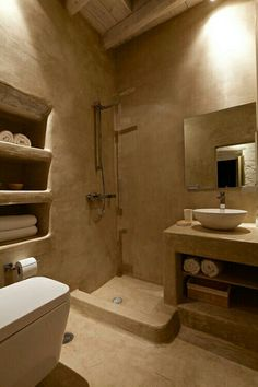 Stunning Atmospheric Villa On Nisyros Island - Decoholic Mud House, Concrete Bathroom, Bathroom Faucets, Mexico House, Villa, Natural Building, Bathroom Interior Design, Luxury Apartments, White Bathrooms