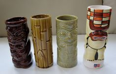 4 Assorted Tiki Mugs Orchids of Hawaii Chiki Tiki Norwegian Cruise Lines