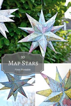 How to Make Gorgeous Free Printable Map Star Decorations Maps are a fun way to personalize and add interest to decorations. Here's a free printable and tutorial to make a fantastic Map star Christmas decoration Noel Christmas, Christmas Crafts, Oragami Christmas Ornaments, Crafts For Teens, Crafts To Make, Adult Crafts, Printable Maps, Free Printable, Printables