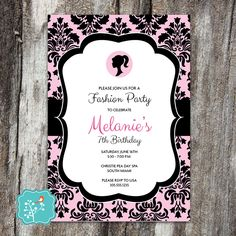 Barbie Birthday Party Invitation, Glam Party, Fashion, Fashionista, Glamour, Girl Birthday, Quinceañera, Sweet 16, DIGITAL PRINTABLE FILE by AFlairForPaper on Etsy