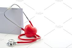 Flat 7 April Red stethoscope with empty calendar and heart shape on white background. World Health Day World Health Day, Heart Shapes, Empty, Health Care, Calendar, Life Planner, Health