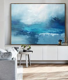 Large Cloud Abstract Art Painting On Canvas,Marine Landscape Oil Painting,Large Wall Canvas Painting,Large Wall Art Sea View Oil Painting - Peinture Sky Landscape, Landscape Paintings, Sea Paintings, Painting Trees, Painting People, Painting Flowers, Large Wall Canvas, Blue Abstract Painting, Abstract Canvas