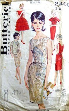 Butterick Wiggle Dress, Cape, Jacket and Overskirt. 1960s Fashion, Vintage Fashion, Vintage Dresses 1960s, Ladybird Books, Cape Dress, Wiggle Dress, Vintage Sewing Patterns, Cape Jacket, Dress Sewing