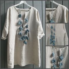 Sew liberated Schoolhouse Tunic ~ The necklace is crocheted flowers.
