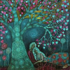 Sit with me by the Tree of Life and We will Breathe in Divinity ~ Micheal Teal / The Ancient One ♥♥ Beautiful Artwork by Alice Mason