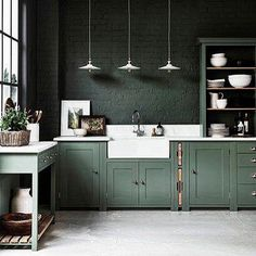 "141 Likes, 2 Comments - House of Sylphina (@houseofsylphina) on Instagram: ""Kitchen on point . . . . .  Pinterest #colour #green #black #kitchen #kitchendesign #colourcombo…"""