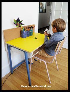 Bureau acier et bois pour enfant Mounting Brackets, Chair, Key, Design, Furniture, Home Decor, Woodwind Instrument, Desk, Kid