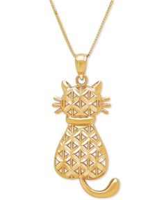 Textured Backwards Kitty Cat Pendant Necklace in 14k Gold