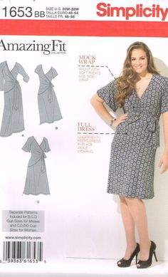 Simplicity 1653, Sewing Pattern, Women's Dress by Amazing Fit, Size 20W,22W,24W,26W,28W, Plus Size by OhSewWorthIt on Etsy