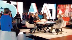 "Our white Tribe chairs are the public's seats @ Belgian television show ""Reyers laat"""