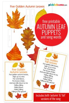 Autumn Leaf Puppets and a Song Free Printable - make these free printable autumn/fall leaf puppets and sing along to this autumn/fall counting song. The song words come in both an 'autumn' and a 'fall' version. Autumn Theme, Autumn Fall, Autumn Leaves Song, Fall Preschool Activities, Song Words, Teaching Aids, Charlotte Mason, Autistic Children, Fall Projects