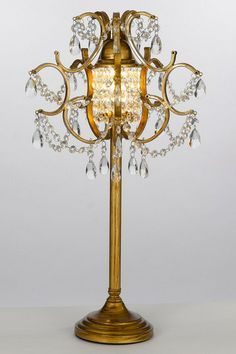 Gold Wrought Iron Crystal Table Lamp by Gallery Lighting on @HauteLook