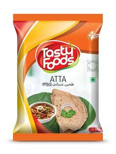 Tasty Foods Atta Pouch design by Brandz Packaging Snack, Spices Packaging, Food Packaging Design, Snack Recipes, Snacks, Tasty, Yummy Food, Nutrition, Advertising Design