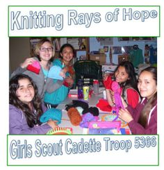 Cadette girl scout troop 5366 donating their loom knitted hats to babys in hospital (knitting rays of hope).