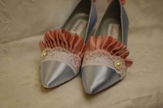 Madly in love with this girl's shoes! Marie Antoinette Blue and Pink Ruffle Heels.  via Etsy.