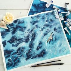 By @amaryenkova - Over the ocean. Tag #inspiring_watercolors for a chance to be featured. #watercolors #watercolor #watercolorpainting #aquarelle #painting #watercolorartist #art #artist #inspiration #beauty #beautiful #sketch #illustration #artwork #watercolour #watercolorsketch #sea #ocean #waves