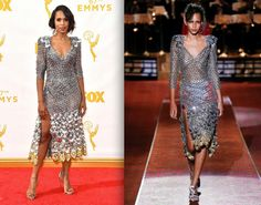Kerry Washington wore the Metallic Dot Solstis lace by Marc Jacobs to the Emmy's - collection Spring 2016