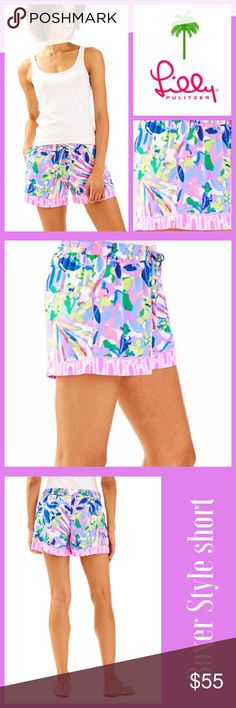 """NWT Lilly Pulitzer Katia Shorts in Havin a Blast The Katia Short is a 5"""" engineered printed pull on short. These shorts have a drawstring at the waist and slits on the side seam openings.  - Pull On Short With Drawstring On Waist And - - Slits On Side Seam Openings. - 5"""" Inseam. - Palm Beach Rayon - Printed (100% Rayon). - Machine Wash Cold Lilly Pulitzer Shorts"""