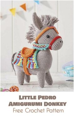 Little Pedro - Amigurumi Donkey [Free Crochet Pattern] Follow us for ONLY FREE crocheting patterns for Amigurumi, Toys, Afghans and many more!