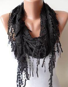 Black Scarf  Cotton Fabric with Black Trim Edge by SwedishShop, $15.90