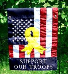 """Support Our Troops (50 Stars) Garden Flag Indoor/outdoor 13.5"""" X 18"""" by Two Group. $9.45. Pole hem. Appliqued and embroidered for superior presentation. Made with 100% polyester. Measures approximately 13.5"""" x 18"""". Our vibrantly colored, high quality, appliqued and embroidered summer garden flags are just the thing to decorate your home this summer! We have one of the largest selections of new decorative garden flags from sports and NASCAR racing flags, beautiful flowers, to spe..."""