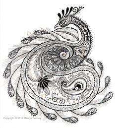 Zentangle - Paisley Peacock, © Glenys Looney.