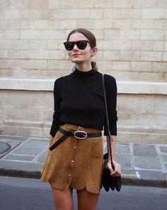 retro 70's brown,suede skirt; black belt, mock T neck, bag, sunglasses