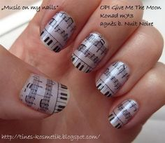 Music Note, Cool Newspaper Nail Art Ideas, http://hative.com/cool-newspaper-nail-art-ideas/,