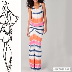 Beautiful Tie Dyed Summer Dress Beautiful Spring colors, peach, snorkel blue, & rose quartz Maxi Dress. Dress is sleeveless & has razor back. Dress has gathered pleats on two sides for better fit. No lining. Cotton & Spandex Blend. Sizes Small-XL. Medium/SOLD Cosb Dresses Maxi