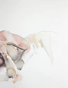 """Saatchi Art Artist Elizabeth Becker; Watercolor Painting, """"Sleep Study No. 2"""" #art"""