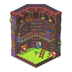 "pixosprout: "" Bookkeeper's Garden "" Not an actual game, but pixel art by Chern Fai (pixosprout), who's made more isometric scenes that are equally adorable so go check him out okay :D Pixel Art Gif, Cool Pixel Art, Pixel Art Games, 3d Pixel, Pixel Animation, 8bit Art, 8 Bits, Isometric Art, Gif Animé"