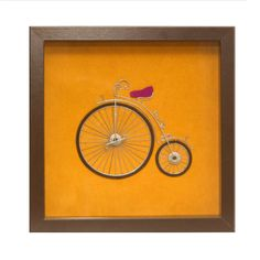Yellow bike wire art Framed wall art Wall wire art by GaliConcept