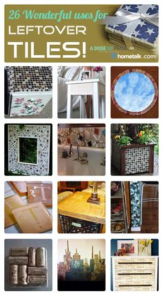 Had no idea you could tile for ALL this! This is incredible! And wait until you see the scrabble idea. Had no idea you could tile for ALL this! This is incredible! And wait until you see the scrabble idea. Upcycled Crafts, Diy And Crafts, Arts And Crafts, Repurposed, Diy Projects To Try, Craft Projects, Craft Ideas, Ceramic Tile Crafts, Leftover Tile