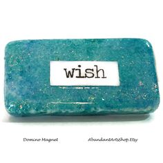 Wish for the stars! Inspirational message on this domino magnet at #AbundantArtsShop #Etsy to buy click image #Inspiration #Quote #Wish #BFF #DailyInspiration #AlcoholInks #Domino #ReclaimedDomino #UpcycledDomino #AlcoholInksDomino #Glitter #Magnet #RefrigeratorMagnet #LockerMagnet