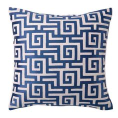 Featuring a Greek key motif and feather-down fill, this chic linen pillow brings an eye-catching pop of pattern to your bed or sofa.